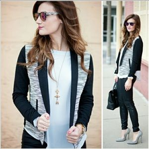 Lou & Grey Peppered Open Jacket